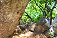 Rocks. A giant rock and some small rocks and trees in a garden in Mahabalipuram, Tamil Nadu, India Stock Photography