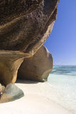 Rocks of granite at a Seychelles beach Royalty Free Stock Images