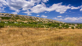 Rocks and grass of Crimean peninsula. Royalty Free Stock Photos