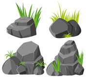 Rocks and grasses on white background Royalty Free Stock Photo
