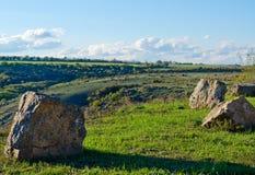 Rocks on green grass Stock Image