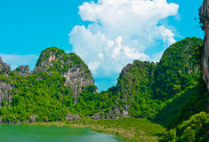 Rocks in Halong Bay. Vietnam, Southeast Asia royalty free stock image