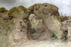`The Kiss.` Natural phenomenon Stone mushrooms - one of the wonders of Bulgaria in the Rhodope Mountains. stock image