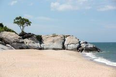 Rocks on Hua Hin beach Royalty Free Stock Photography