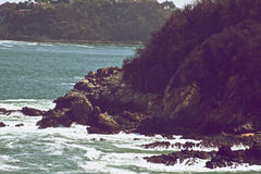 Rocks in the Huatulco shore. A photo of the sea shore of Huatulco running into the rocks and mountain Stock Image