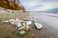 Rocks hunstanton. Sunset at Hunstanton beach Norfolk Stock Photography