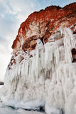 Rocks and icicles royalty free stock photos