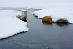 Frozen Winter. Rocks in an icy snow covered stream Royalty Free Stock Images