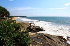 Rocks at the Indian Ocean near the hotel Saman Villas. Waves hit the rock, Bentota, Sri Lanka Royalty Free Stock Photography