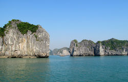 Rocks and islands of Ha Long Bay near Cat Ba island, Vietnam. stock photography