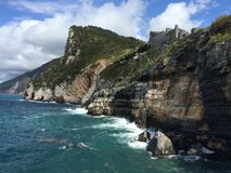 Rocks in Italian sea, castle Royalty Free Stock Photos