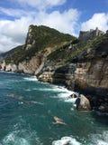 Rocks in Italian sea, castle Royalty Free Stock Images