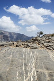 Rocks Jebel Shams. Image of rock walls on mountain Jebel Shams in Oman royalty free stock photo