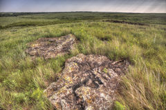 Rocks and Kansas prairie landscape Royalty Free Stock Photos