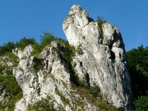 Rocks in the Kobylanska valley in the Krakow-Czestochowa Upla royalty free stock image