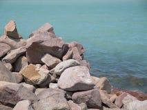 Rocks in the lake of coast. Rocks in the Balaton lake of coast Stock Photography