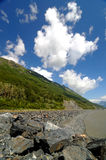 Rocks, lake and portage glacier Royalty Free Stock Photography