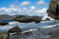 Rocks in Lands End, San Francisco. The view in spring in Lands End, San Francisco, CA, U.S royalty free stock photos