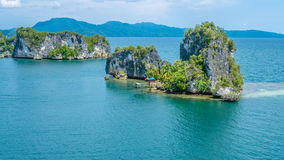 Rocks Landscape in Kabui Bay near Waigeo. West Papuan, Raja Ampat, Indonesia.  royalty free stock image
