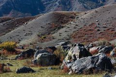 Rocks in the landscapes of Altai mountains, Altai Republic. Royalty Free Stock Photo