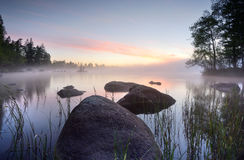 Rocks. Large rocks in the water a misty morning Stock Images