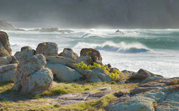 Rocks, lichens ans stormy sea in Galicia Spain. Stock Photos