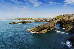 Rocks and lighthouse of Biarritz during a sunny day, France Royalty Free Stock Photography