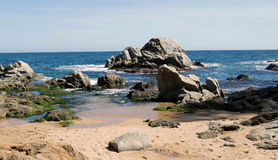 Rocks. The rocks, like that scattered by the giant in the coastal waters of the Mediterranean Sea on the coast in Spain Royalty Free Stock Photo