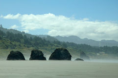 Rocks line on the coast. View from the scenic cost of Bandon Oregon Stock Photography