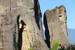Rocks are located monasteries Meteora Stock Photo