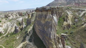 Rocks looks like mushrooms in Cappadocia stock video footage