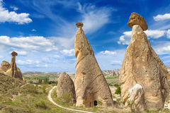 Rocks looks like mushrooms in Cappadocia Royalty Free Stock Images