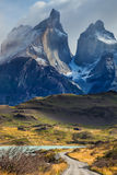 Rocks Los Cuernos. The concept of eco-tourism. Rocks Los Cuernos. Chile, Patagonia, Torres del Paine National Park - Biosphere Reserve royalty free stock image