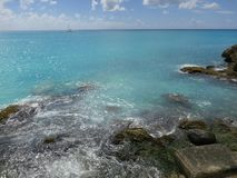 Rocks on Maho Beach. Picture taken from terrace of Sonesta Maho Beach Hotel, Sint Maarten Stock Images