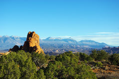 Rocks and Manti La Sal Mountains, Utah Royalty Free Stock Images