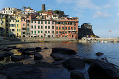 Rocks in marina of Vernazza Royalty Free Stock Image
