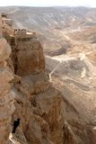 The rocks of Masada. View from the Irod palace to the western wall of the Masada rock Royalty Free Stock Photo