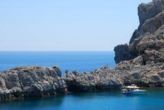 Rocks in Mediterranean Sea. Rocks in blue Mediterranean Sea stock image