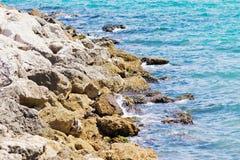 Rocks in Mediterranean Sea Royalty Free Stock Photos