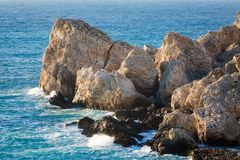 Rocks in Mediterranean sea Malta. Rocks in Mediterranean sea on Malta island. Beautiful seascape in south Europe Stock Images
