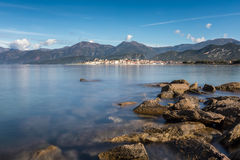 Rocks in Mediterranean at  St Florent bay in Corsica Royalty Free Stock Images