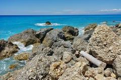 Rocks at Megali Petra beach, Lefkada, Greece Royalty Free Stock Photo