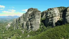 Rocks of Meteora in Greece. The rocks on which the monasteries of Meteora are located stock video footage