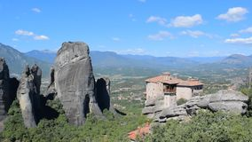 Rocks of Meteora in Greece. The rocks on which the monasteries of Meteora are located stock footage