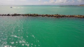 Rocks at Miami Beach South Pointe Park stock footage