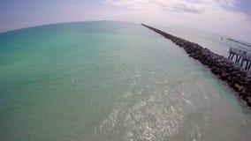 Rocks at Miami Beach South Pointe Park stock footage