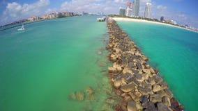 Rocks at Miami Beach South Pointe Park stock video