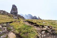 Rocks in the mist on the island Skye Stock Photos