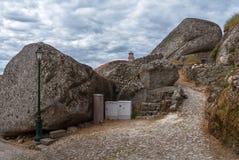 Rocks of Monsanto village. Rocks, moss and doors of Monsanto village in Portugal Stock Photo