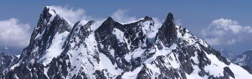 Rocks of Mont-Blanc massive. Snow rocks of Mont-Blanc mountain massive, close, panoramic. Chamonix, France. Taken in July 2013 Stock Photo